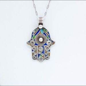 Jewelry - Reversible Large Hamsa Hand Glass Pendant sp0102